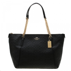 Coach Black Signature Embossed Leather Ava Zip Chain Tote