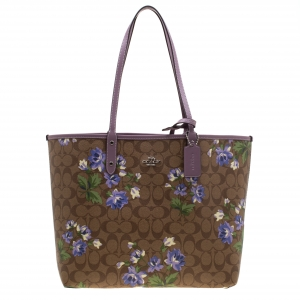 Coach Brown/Khaki Floral Print Coated Canvas Reversible City Tote