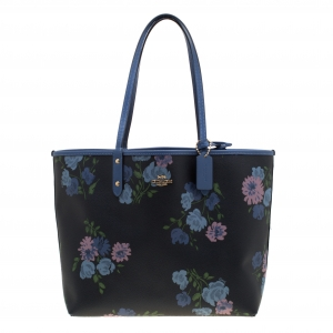 Coach Navy Blue/Beige Floral Print And Signature Coated Canvas Reversible City Tote