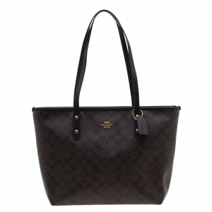 Coach Brown/Black Signature Coated Canvas City Zip Tote
