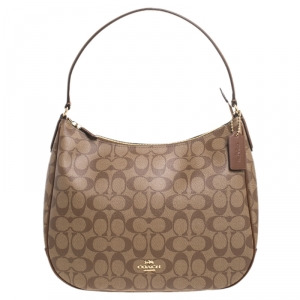 Coach Brown Signature Coated Canvas and Leather Zip Hobo