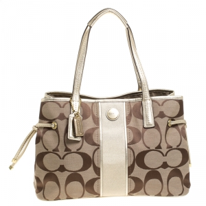 Coach Metallic Gold/Beige Signature Canvas and Leather Stripe Carryall Tote