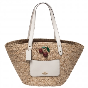 Coach Beige/White Cherry Straw and Leather Basket Tote