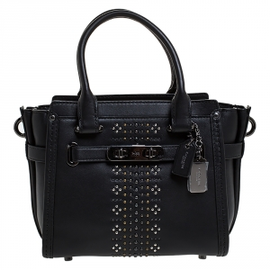 Coach Black Leather Swagger Studded Tote