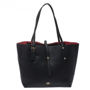 Coach Black Pebbled Leather Market Tote