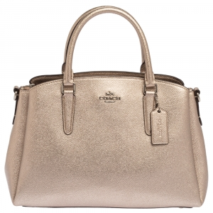 Coach Metallic Grained Leather Sage Carryall Satchel
