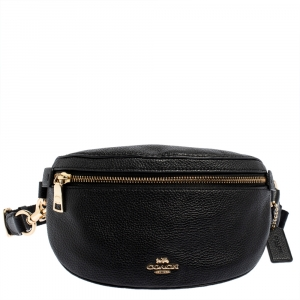 Coach Black Pebbled Leather Belt Bag