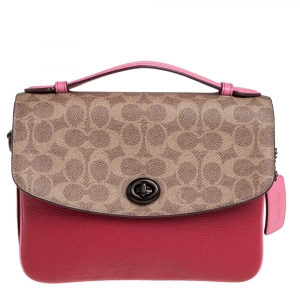 Coach Pink/Red Signature Coated Canvas and Leather Cassie Top Handle Bag