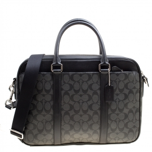 Coach Black Signature Canvas and Leather Slim Laptop Bag