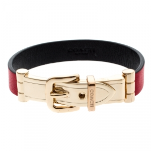 Coach Red Leather Gold Tone Buckle Bracelet