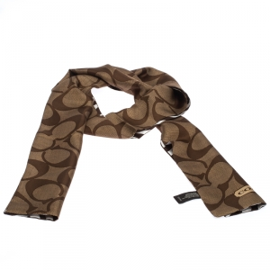 Coach Brown Logo and Stripe Print Silk Reversible Twilly Scarf