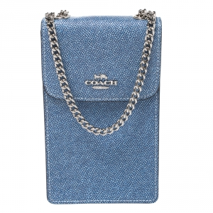 Coach Blue Leather Crossbody Phone Pouch