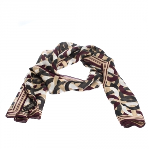 Coach Multicolor Interlocking Modern C Logo Print Silk Scarf