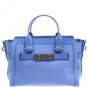 Coach Corn Flower Blue Leather Swagger 27 Tote