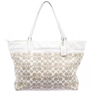 Coach Beige/White Canvas and Leather Tote