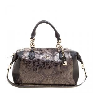 Coach Brown Python Embossed Leather Tote