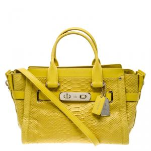 Coach Yellow Python Embossed Leather Swagger 27 Tote