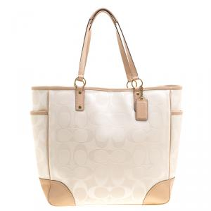Coach White/Beige Coated Canvas and Leather Large City Tote