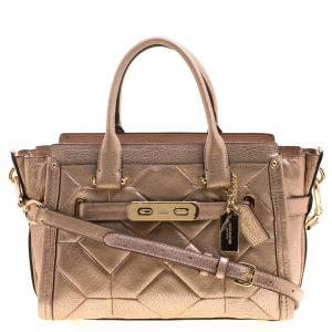Coach Rose Gold Patchwork Metallic Leather Swagger 27 Carryall Tote