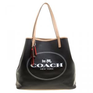 Coach Black Coated Canvas and Leather Metro Horse Carriage Shopper Tote