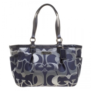 Coach Blue/Grey Optic Signature Jacquard and Patent Leather Tote