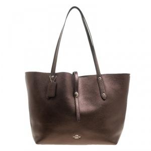 Coach Bronze Leather Large Market Shopper Tote