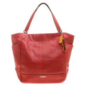 Coach Vermilion Red Leather Park Signature North South Tote