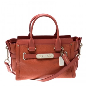 Coach Orange Leather Swagger 27 Carryall Tote