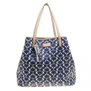 Coach Blue/Brown Signature Coated Canvas and Leather Tote