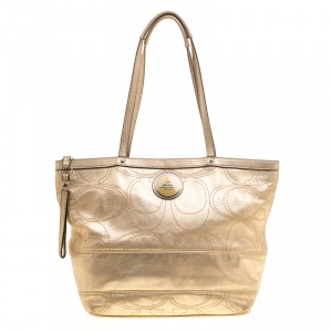 Coach Metallic Gold Signature Stitched Leather Tote