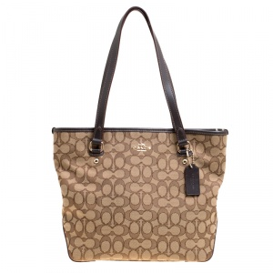 Coach Beige/Brown Signature Canvas and Leather Trim Tote