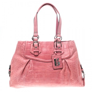 Coach Pink Croc Embossed Leather Ashley Tote