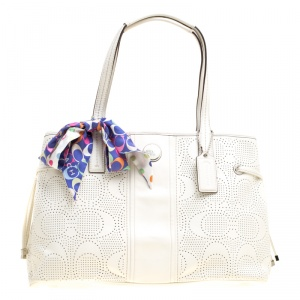 Coach White Perforated Leather Tote