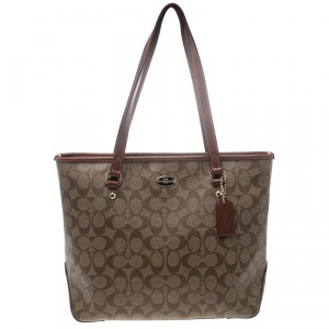 Coach Beige/Brown Signature Coated Canvas and Leather City Zip Top Tote