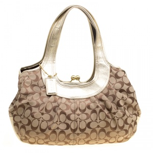 Coach Beige/Gold Canvas and Leather Kisslock Frame Tote