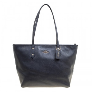 Coach Navy Blue Leather Shopper Tote