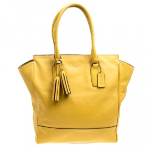 Coach Yellow Leather Tanner Shopper Tote
