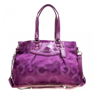 Coach Purple Fabric and Patent Leather Ashley Tote