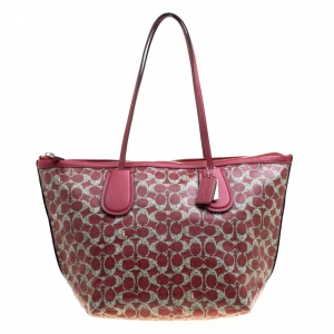 Coach Red Signature Coated Canvas Taxi Zip Shopping Tote