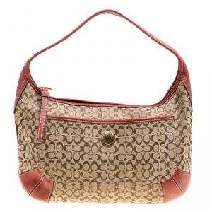 Coach Beige/Red Signature Canvas and Leather Hobo