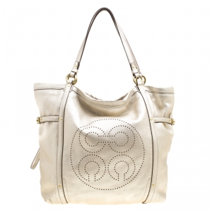 Coach Gold Perforated Leather Audrey Shopper Tote