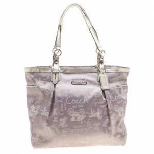 Coach Light Purple Glitter Horse Carriage  Canvas and Leather Tote