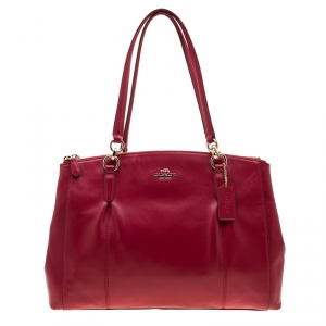 Coach Red Leather Large Christie Caryall Tote
