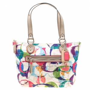 Coach Multicolor Canvas and Patent Leather Stamped C Tote
