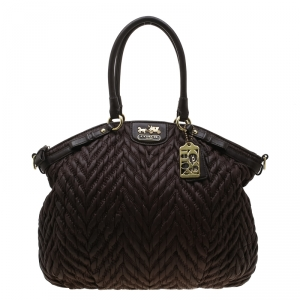 Coach Dark Brown Quilted Nylon 70th Anniversary Madison Tote