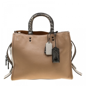 Coach Beige/White Leather and Snakeskin Rogue Tote