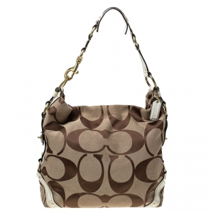 Coach Beige Signature Canvas and Leather Carly Hobo