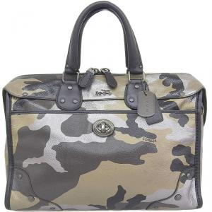 Coach Black/Brown Leather Camouflage Boston Bag