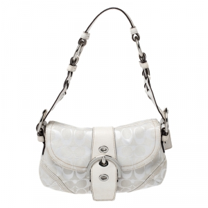 Coach White Canvas and Leather Buckle Flap Hobo