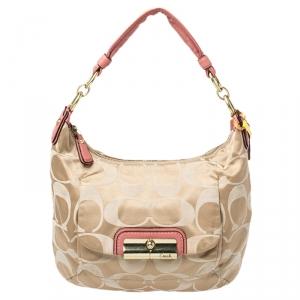 Coach Beige/Pink Canvas Kristin Hobo Shoulder Bag